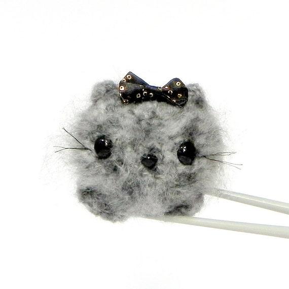 Crochet Amigurumi mochi toy doll - Fluffy Moon cat MochiQtie - mini size amigurumi