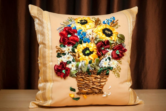 Reserved Pillow Sunflowers and poppies Embroidered Floral silk ribbons Home Decor gift