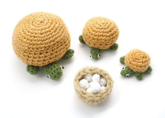 Knitted Turtle Family Of Three With Nest Of Eggs
