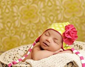 The REESE baby beanie, in hot pink and lime green, multiple sizes available, great photography prop