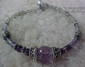 Third Eye Chakra Bracelet - Anja Chakra Jewelry Rainbow Fluorite Amethyst Quartz Crystal Ametrine