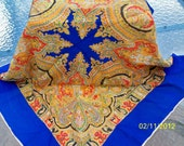 SUMMER SALE  Ladies large Paisley design with multi colors scarf, the border is blue with a small bit of white on edges.
