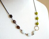 SALE : 40% OFF Rustic Chartreuse Green Glass, Copper and Wood Necklace by LillyandLulu
