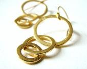 Triple Gold Hoop Earrings by LillyandLulu,  Bridal, Holiday Earrings