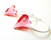 Pink Swarovski Heart & Sterling Silver Hoop Earrings by LillyandLulu Valentine, Girlfriend, Holiday, Bridal