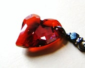Swarovski Crystal Fire Heart Necklace by LillyandLulu, Valentines Day, Sweetheart, Red, Love