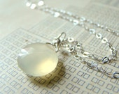 Soft Butter Yellow Chalcedony Faceted Briolette Teardrop and Sterling Silver Necklace by LillyandLulu, Spring, Paste