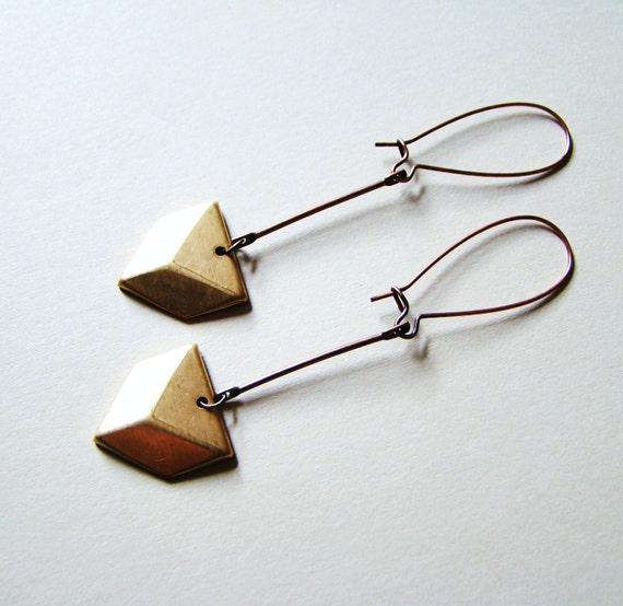 Arrow Mixed Metal Earrings by LillyandLulu, Copper, Brass, Minimalist, Tribal, Geometry, Geometric, Cupid
