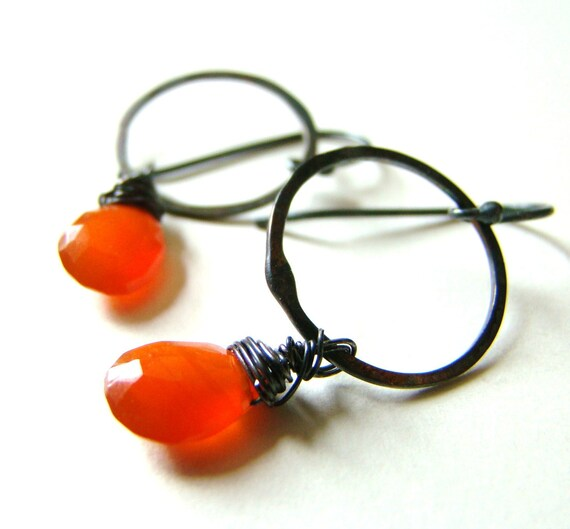SALE : 25% OFF Orange Carnelian Gemstone Teardrops and Oxidized Sterling Silver Wire Wrapped Earrings by LillyandLulu
