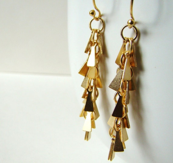 Modern Matte Gold Pyramid Dangle Earrings by LillyandLulu