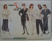 Vintage 1989 Vogue 2415 5 Easy Pieces Pattern - Misses Dress, Top, Skirt and Pants