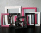 Upcycled Frames - Vintage - 9 Hot Pink, White & Black - Shabby Chic - Paris Apartment - French Chic - Ohhh LA LA