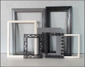 Upcycled Vintage Frames - Group of 7 - Distressed Black, White & Grey - Modern Gallery of Frames