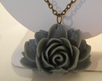 Grey Lotus Flower with Grey/Tan toned Iridescent Beads