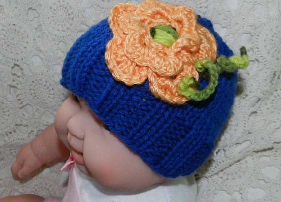 Summer Clearance Hand knitted hat for baby girl  CUTE SAPPHIRE baby girl beanie  with the big flower