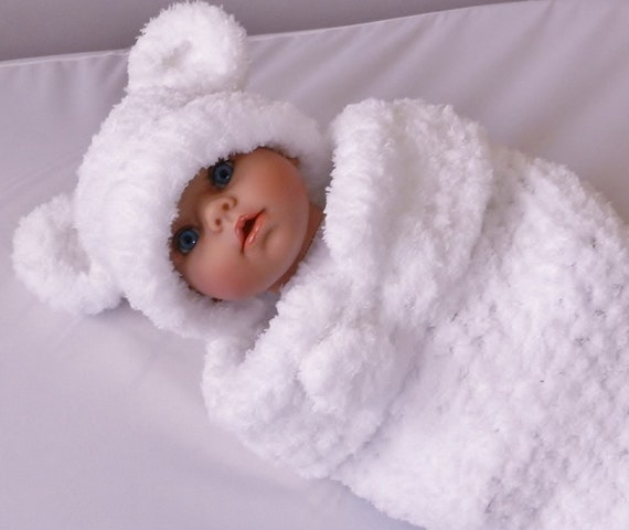 Summer Clearance Newborn Bear or MOuse set  extra soft baby yarn in snow-white color- Hat and Cocoon PHOto Prop. baby gift, baby shower gift