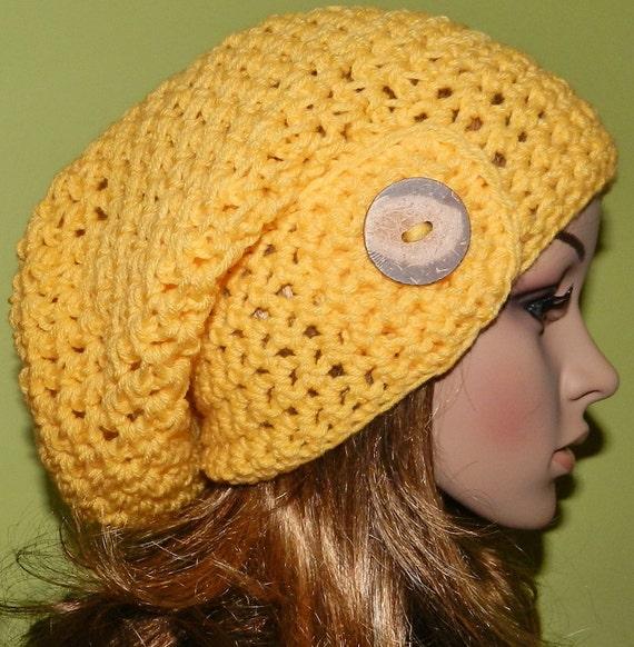 SALE - HIPPIE Hat  Women Teen   Large Hat crochet Large Slouch Cap , Rasta Cap, Big Beanie, all season slouch hat  in SUMMER Yellow