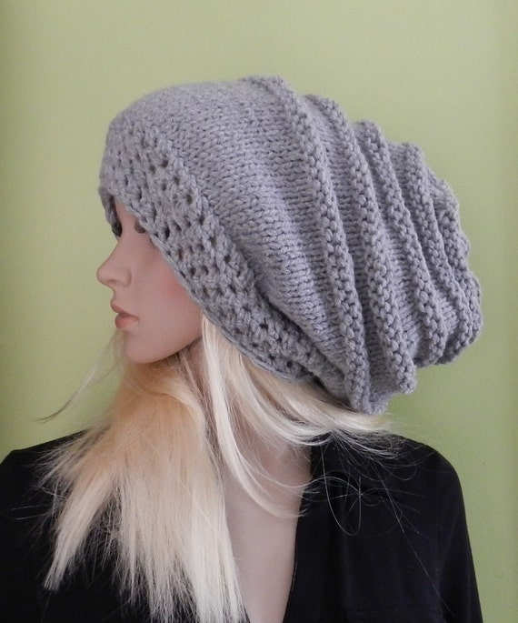 HIPPIE Hat Women - Teen Extra Large knitted super chunky Slouch Hat, Rasta Cap, Big Beanie, Baggy in Mouse Gray Color