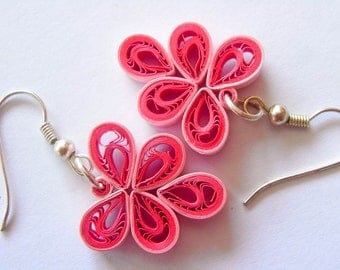 OOAK Leafy Paper Quilled Earrings in Pink
