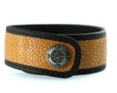 Orange Stingray Genuine Leather Snap Bracelet