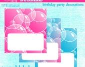 Bubbles Candy Labels- Bubbles Birthday Labels-PDF