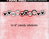 Minnie Mouse Candy Stickers-Minnie Mouse Birthday Kisses Stickers PDF