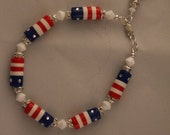 Patriotic Bracelet with Polymer Clay Tubular Beads and Star Charm
