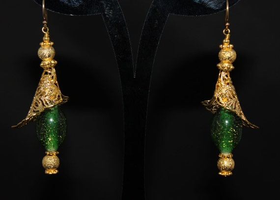 Earrings with Green Glass Beads with a Sprinkle of Gold