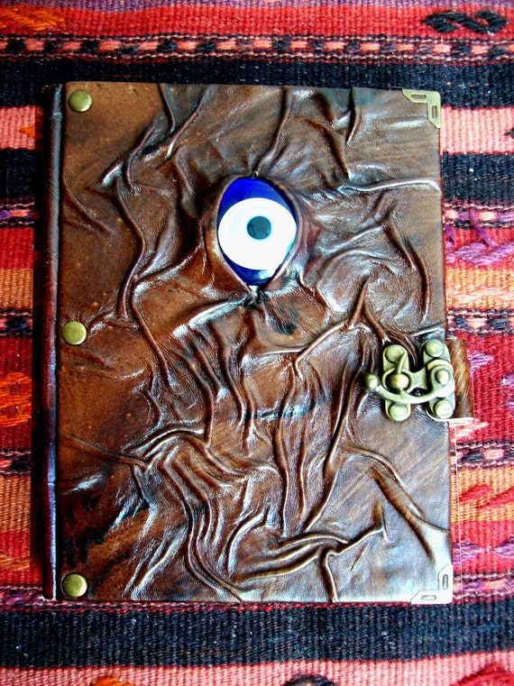 Handmade Leather Journal with Brass Lock and Glass Evil Eye