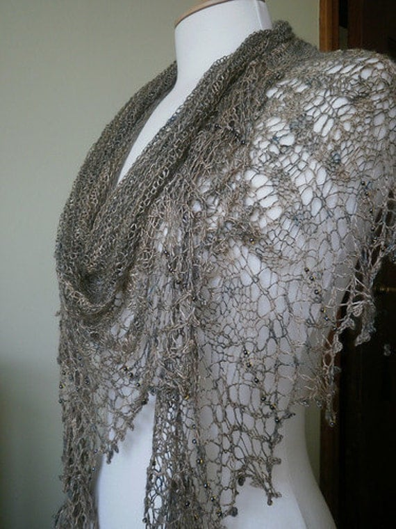 Clouds in my Coffee - Tussah Silk Hand Knit Lace Crescent Shawl