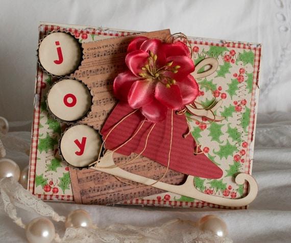 christmas cards handmade greeting card vintage ice skate joy