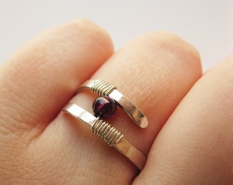 Garnet Ring Hammered Sterling Silver - Modern Contemporary Ring - Wire Wrapped Garnet Ring, Gift for Her, Holiday Gift