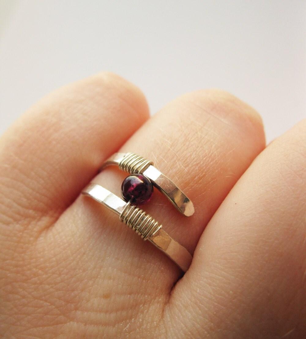 garnet ring hammered sterling silver modern contemporary. Black Bedroom Furniture Sets. Home Design Ideas
