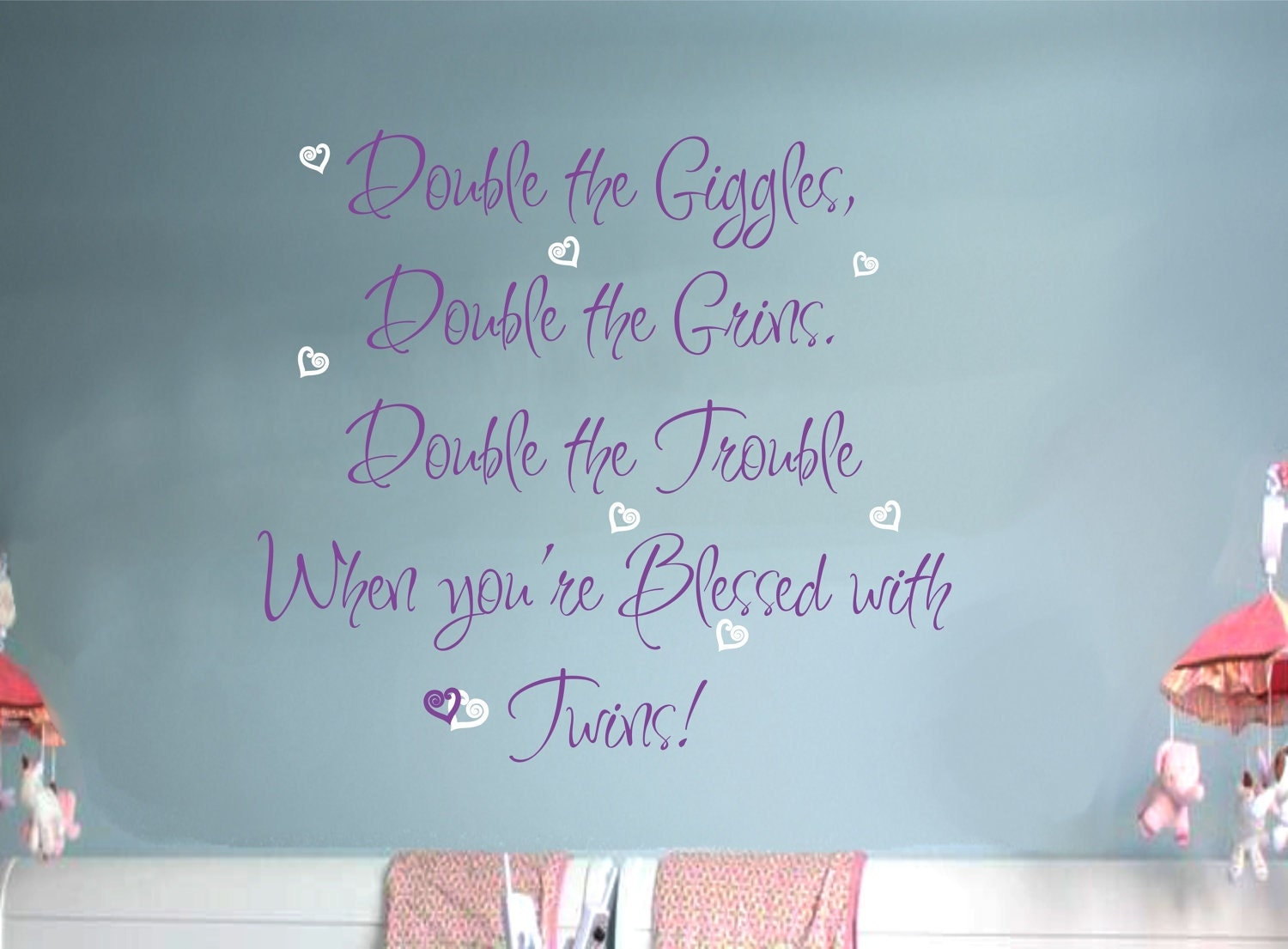 Double The Trouble Quotes: Twins Baby Nursery Saying Wall Decal Hearts By