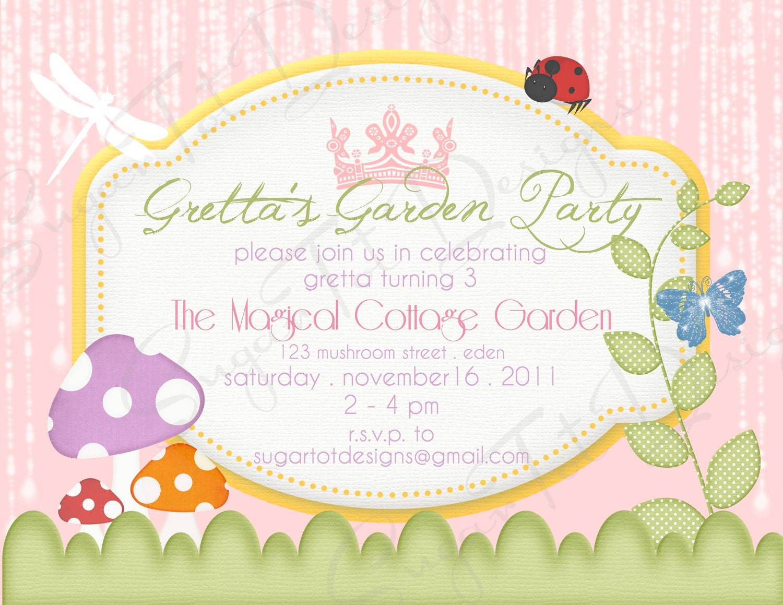 magical garden party invitation garden birthday invitation. Black Bedroom Furniture Sets. Home Design Ideas