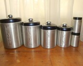 SALE Aluminum Canister Set with Matching Salt and Pepper Shakers Set of 6 Vintage- K47