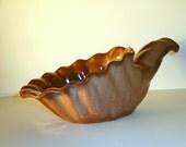 Collectible Frankoma Pottery Cornucopia / Mint Condition / Made in U.S.A. / Oklahoma Pottery / 1960s 1970s