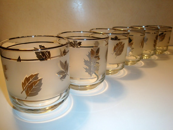 Frosted Silver Leaf Low Ball Cocktail Glasses by Libbey, Bar Ware -  Set of Six  from 50's or 60's -  K19