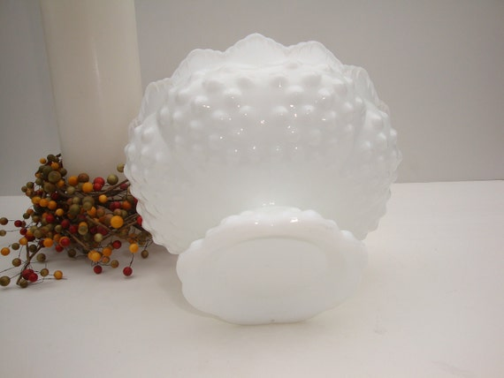S A L E - Candle Holder Fenton White Milk Glass Hobnail - Holds 6 Taper Candles or a Pillar Candle  Vintage - D30