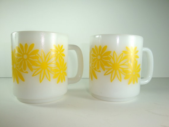 Pair of White Milk Glass Mugs / Coffee Cups / Tea Cups with Bright Yellow Daisies - Sunny Yellow