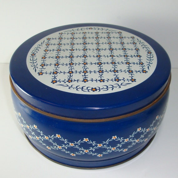 Vintage Blue Cookie Tin with Flowers - D182