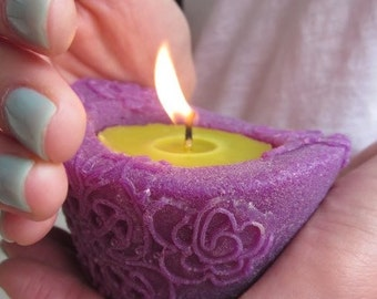 Beeswax palmwax Candles, Small Eco Friendly Natural Wax Candle, Purple and Chartreuse Color Candles, Holiday Gift, Housewarming Gift