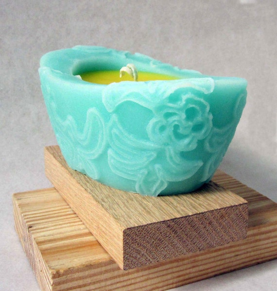 Spring Dance Beewax palmwax Candles, Medium Chantilly Design Natural Wax Candle,Eco-Friendly Candle, Teal and Yellow Candle