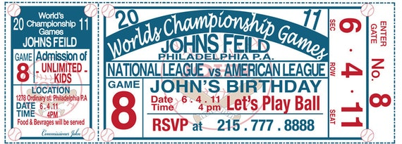Baseball Birthday Custom Printable Invitation DIY