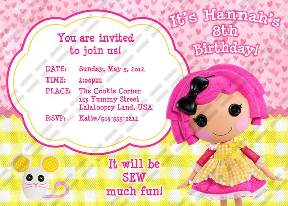 Baker Doll -  Birthday Party Invitation - 5x7 or 4x6 Invite Printable