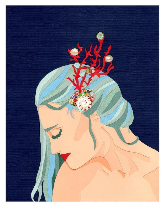 The Water Nymph, 8x10 Inch Art Print