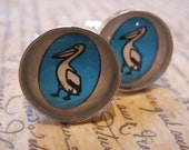Unique Pelican Books Cufflinks Made With Vintage Paperback Covers- Mens Fashion Cuff Links- Literary Gift for Him- Blue Black White Silver