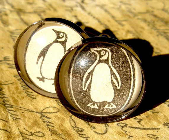 Unique Penguin Books Cufflinks Made With Vintage Books- Mens Fashion Cuff Links- Contrasting Black and White Literary Gift for Him
