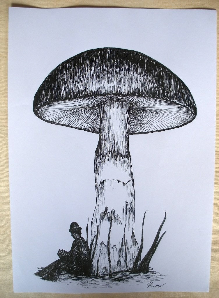 Under the Toadstool original pen and ink surreal drawing