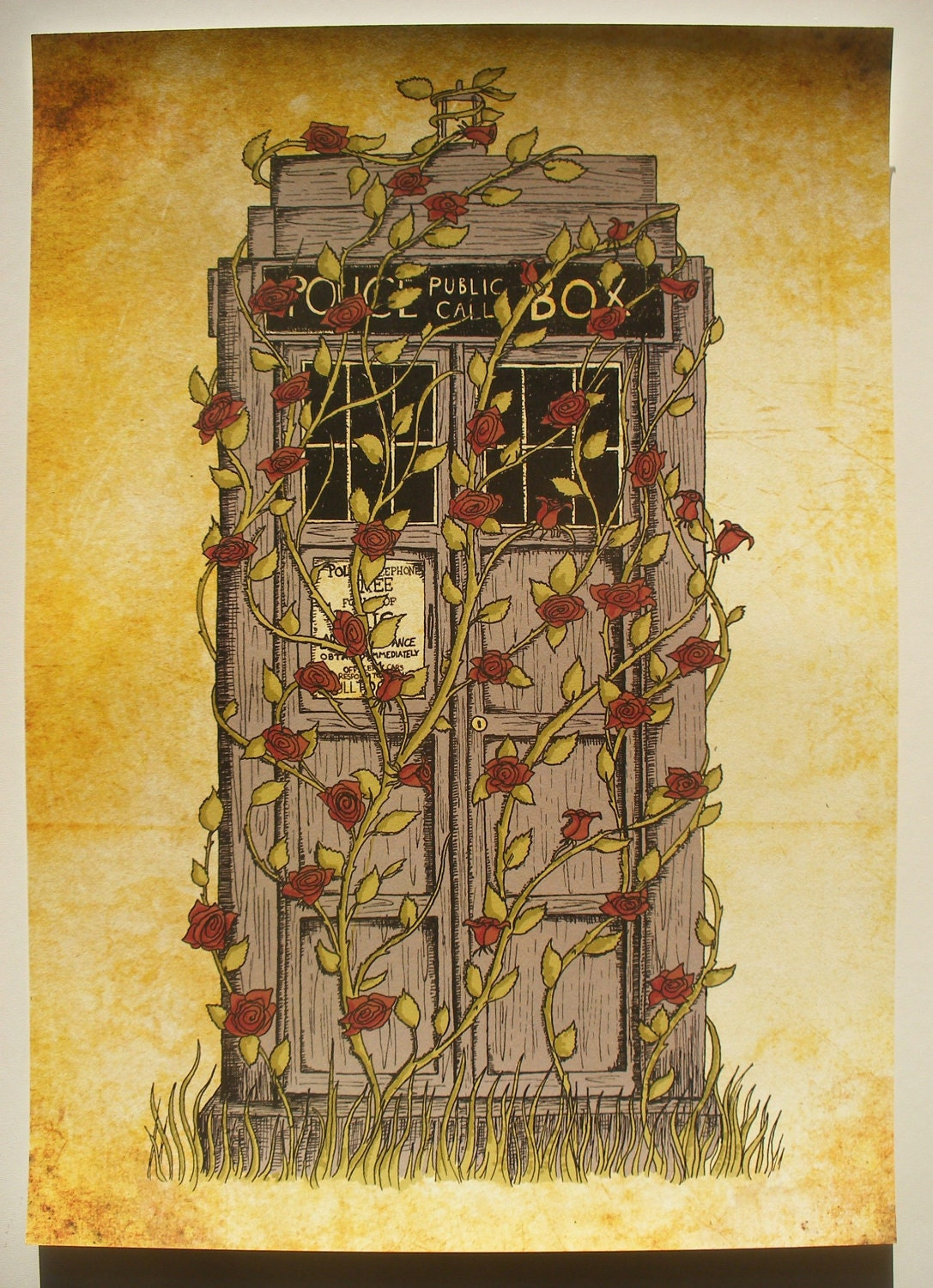 Doctor Who print Rose Dr Who Tardis inspired A3 art by ...